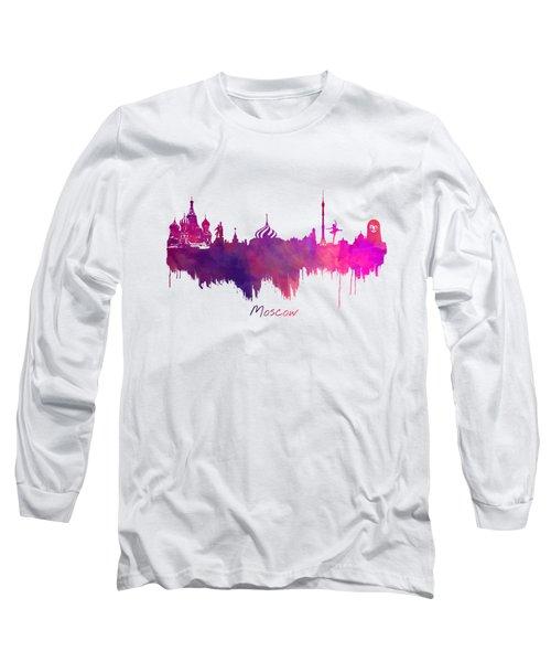 Moscow Skyline Purple Long Sleeve T-Shirt by Justyna JBJart