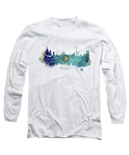 Moscow Skyline Wind Rose Long Sleeve T-Shirt by Justyna JBJart