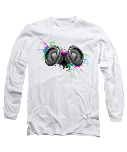Music Speakers Colorful Design Long Sleeve T-Shirt by Johan Swanepoel