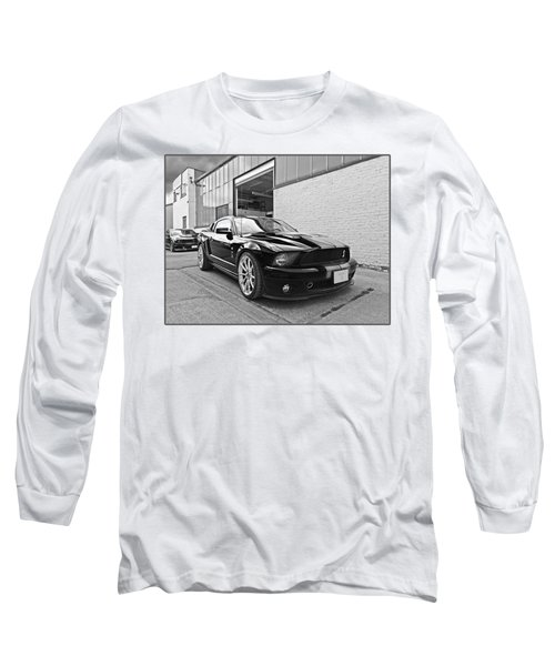 Mustang Alley In Black And White Long Sleeve T-Shirt by Gill Billington