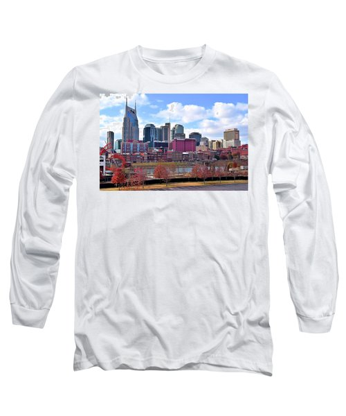 Nashville On The Riverfront Long Sleeve T-Shirt by Frozen in Time Fine Art Photography