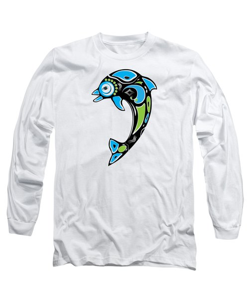 Native American Inspired Dolphin Symbol Long Sleeve T-Shirt by Serena King