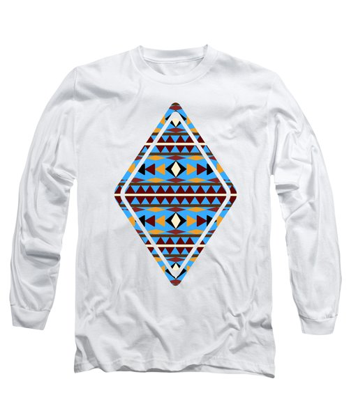Navajo Blue Pattern Art Long Sleeve T-Shirt by Christina Rollo