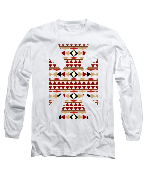 Navajo White Pattern Art Long Sleeve T-Shirt by Christina Rollo
