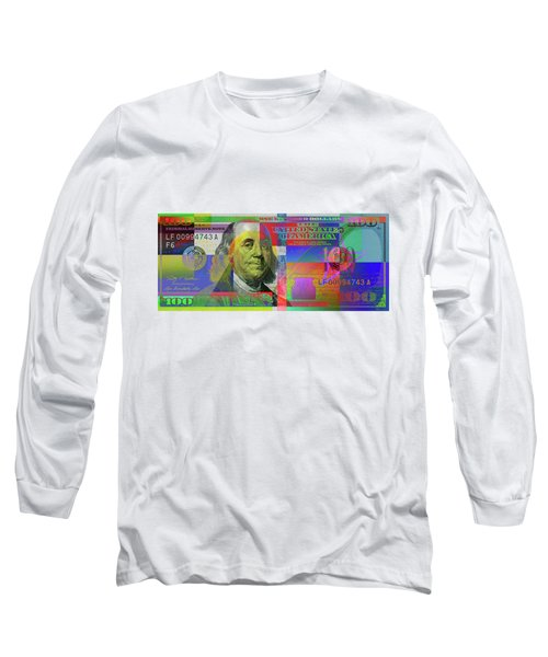 2009 Series Pop Art Colorized U. S. One Hundred Dollar Bill  V.3.0 Long Sleeve T-Shirt by Serge Averbukh