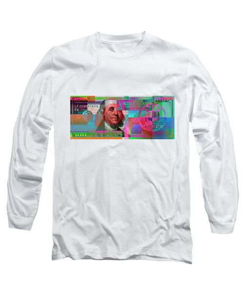 New 2009 Series Pop Art Colorized Us One Hundred Dollar Bill  V.3.2 Long Sleeve T-Shirt by Serge Averbukh