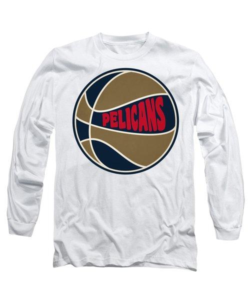 New Orleans Pelicans Retro Shirt Long Sleeve T-Shirt by Joe Hamilton