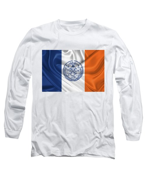 New York City - Nyc Flag Long Sleeve T-Shirt by Serge Averbukh