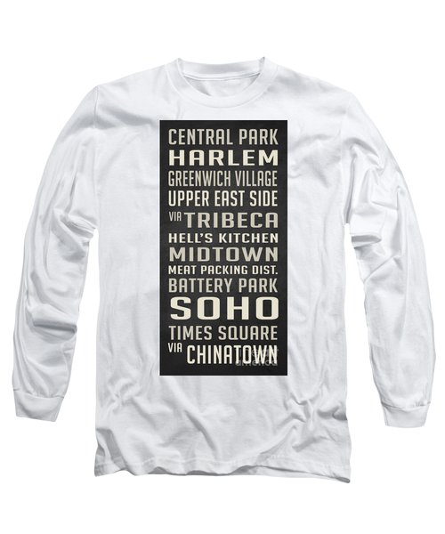 New York City Subway Stops Vintage Long Sleeve T-Shirt by Edward Fielding