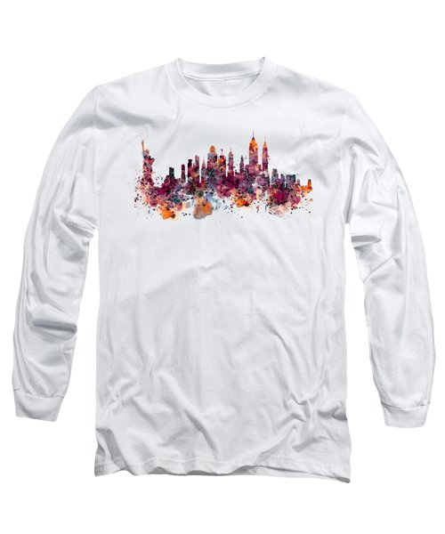 New York Skyline Watercolor Long Sleeve T-Shirt by Marian Voicu