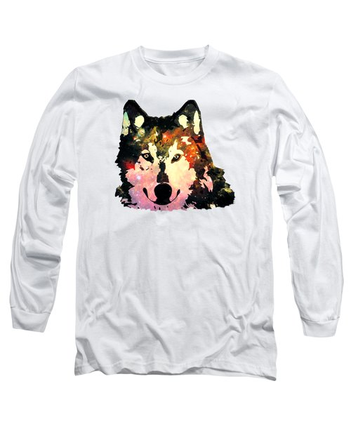 Night Wolf Long Sleeve T-Shirt by Anastasiya Malakhova