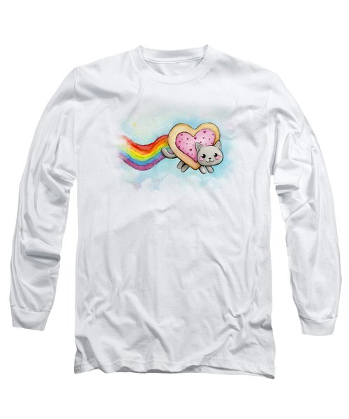 Nyan Cat Valentine Heart Long Sleeve T-Shirt by Olga Shvartsur
