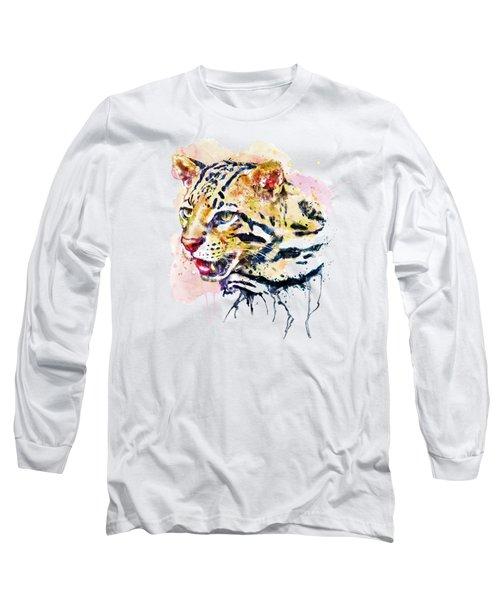 Ocelot Head Long Sleeve T-Shirt by Marian Voicu