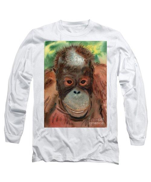 Orangutan Long Sleeve T-Shirt by Donald Maier