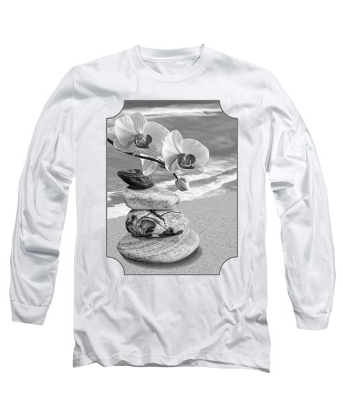 Orchids And Pebbles On The Sand In Black And White Long Sleeve T-Shirt by Gill Billington
