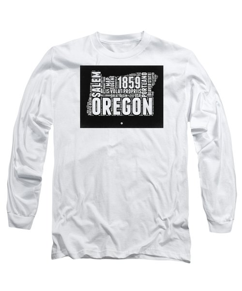 Oregon Black And White Map Long Sleeve T-Shirt by Naxart Studio