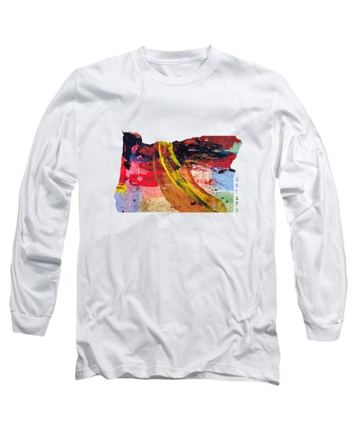 Oregon Map Art - Painted Map Of Oregon Long Sleeve T-Shirt by World Art Prints And Designs