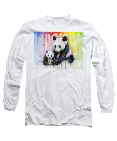 Panda Watercolor Mom And Baby Long Sleeve T-Shirt by Olga Shvartsur