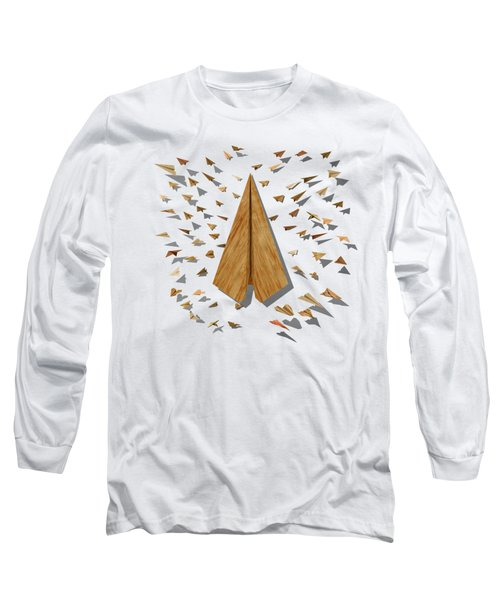 Paper Airplanes Of Wood 10 Long Sleeve T-Shirt by YoPedro