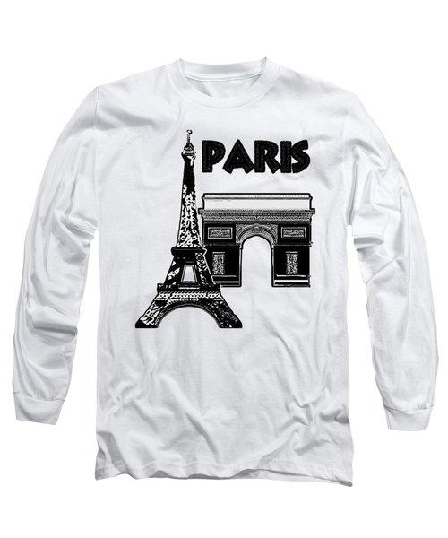 Paris Graphique Long Sleeve T-Shirt by Pharris Art