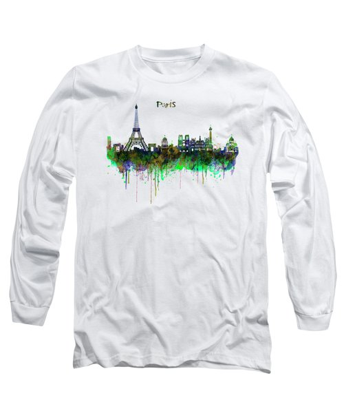 Paris Skyline Watercolor Long Sleeve T-Shirt by Marian Voicu
