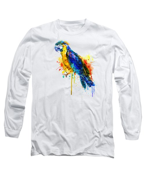 Parrot Watercolor  Long Sleeve T-Shirt by Marian Voicu