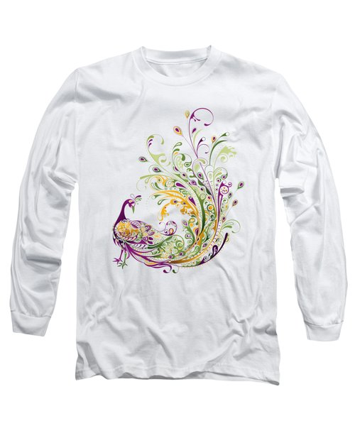 Peacock Long Sleeve T-Shirt by BONB Creative