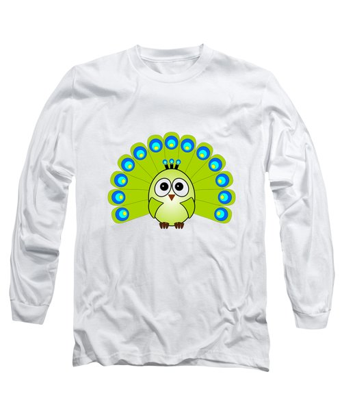 Peacock  - Birds - Art For Kids Long Sleeve T-Shirt by Anastasiya Malakhova