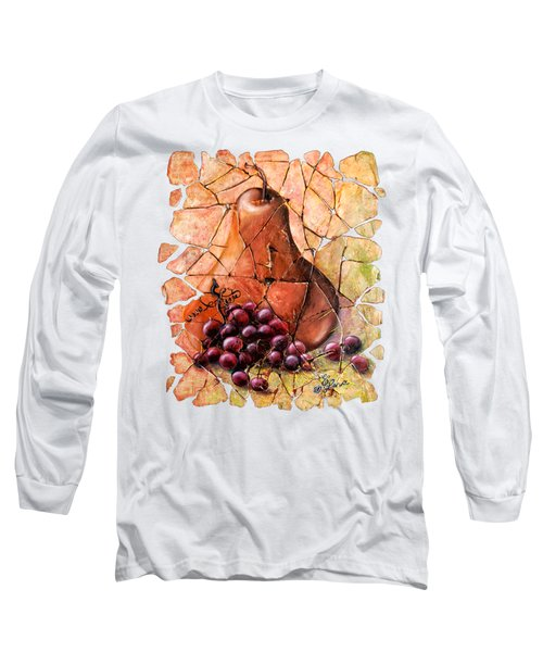 Pear And Grapes Fresco Long Sleeve T-Shirt by Art OLena