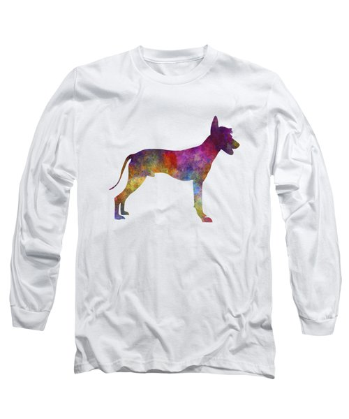 Peruvian Hairless Dog In Watercolor Long Sleeve T-Shirt by Pablo Romero