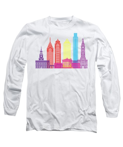Philadelphia Skyline Pop Long Sleeve T-Shirt by Pablo Romero