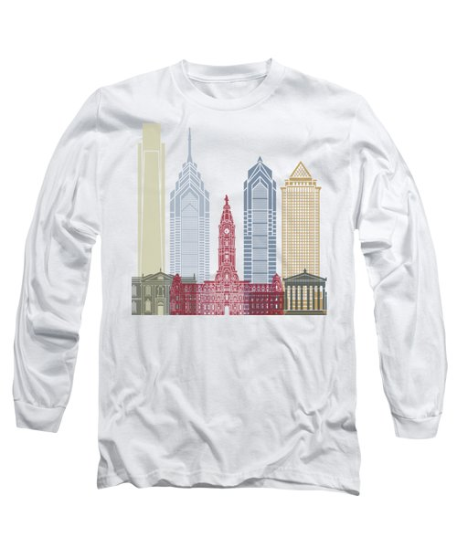 Philadelphia Skyline Poster Long Sleeve T-Shirt by Pablo Romero