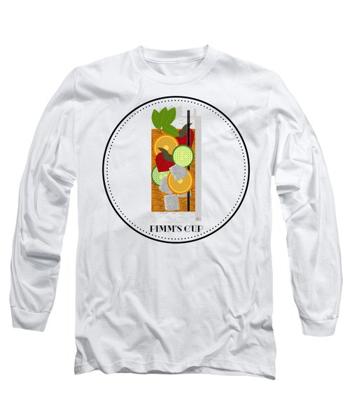 Pimm's Cup Cocktail In Art Deco  Long Sleeve T-Shirt by Cecely Bloom