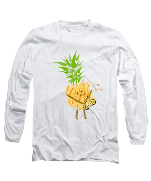 Pineapple Playing Saxophone Long Sleeve T-Shirt by Neal Battaglia