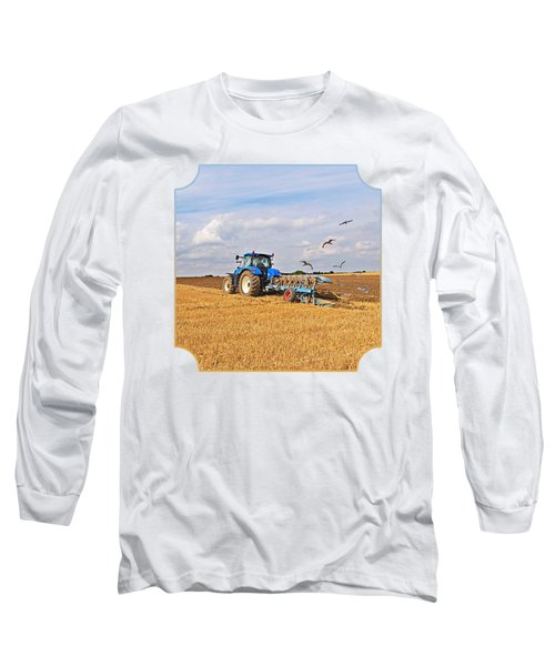 Ploughing After The Harvest - Square Long Sleeve T-Shirt by Gill Billington