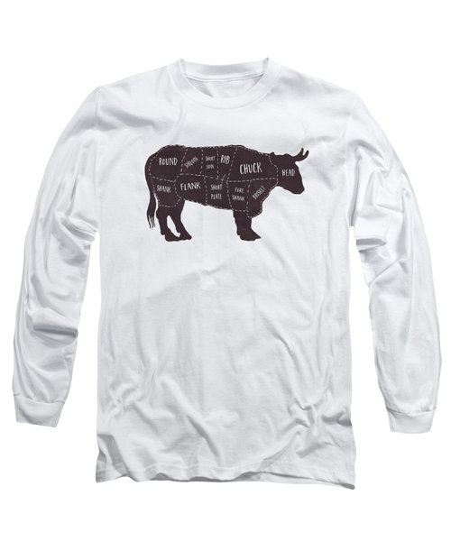 Primitive Butcher Shop Beef Cuts Chart T-shirt Long Sleeve T-Shirt by Edward Fielding