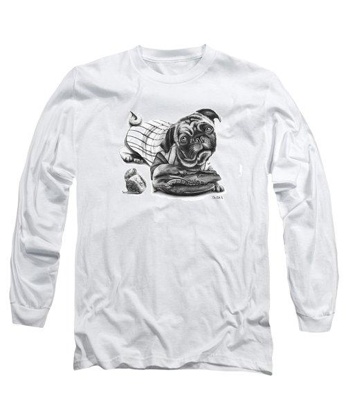 Pug Ruth  Long Sleeve T-Shirt by Peter Piatt