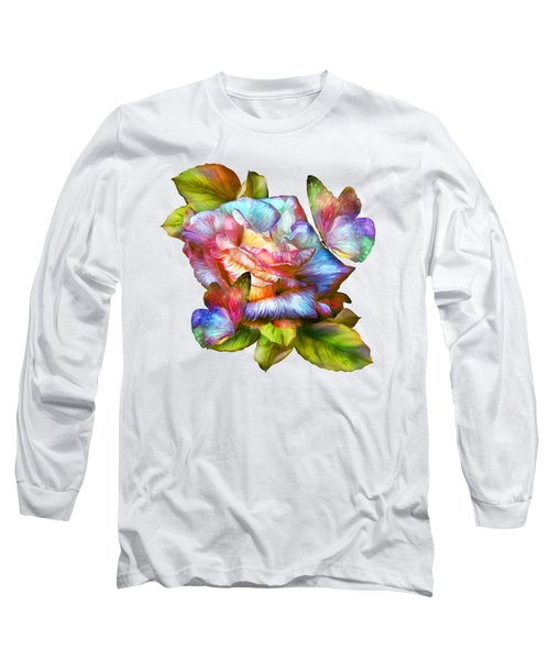 Rainbow Rose And Butterflies Long Sleeve T-Shirt by Carol Cavalaris