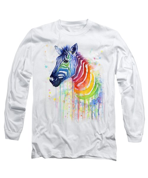 Rainbow Zebra - Ode To Fruit Stripes Long Sleeve T-Shirt by Olga Shvartsur
