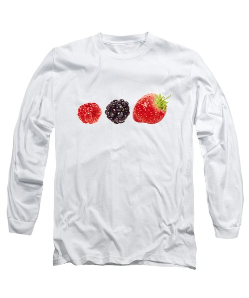 Raspberry, Blackberry And Strawberry In Watercolor Long Sleeve T-Shirt by Kathleen Skinner