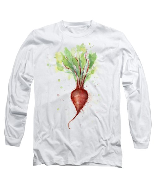 Red Beet Watercolor Long Sleeve T-Shirt by Olga Shvartsur