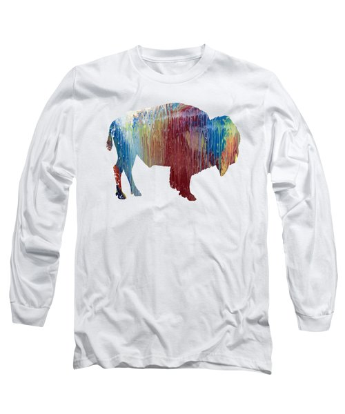 Red Bison Long Sleeve T-Shirt by Mordax Furittus