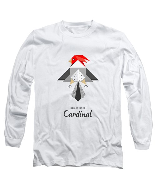 Red-crested Cardinal Minimalist Long Sleeve T-Shirt by BONB Creative