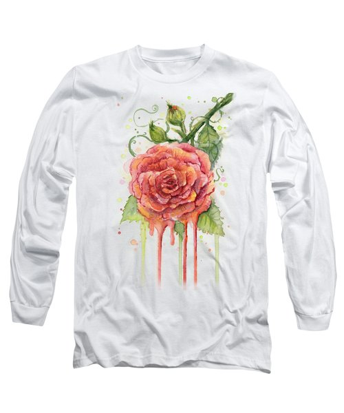 Red Rose Dripping Watercolor  Long Sleeve T-Shirt by Olga Shvartsur