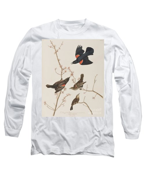 Red Winged Starling Or Marsh Blackbird Long Sleeve T-Shirt by John James Audubon