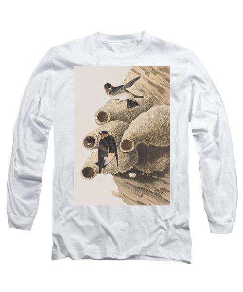 Republican Or Cliff Swallow Long Sleeve T-Shirt by John James Audubon