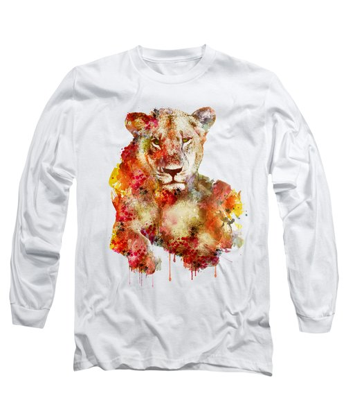 Resting Lioness In Watercolor Long Sleeve T-Shirt by Marian Voicu