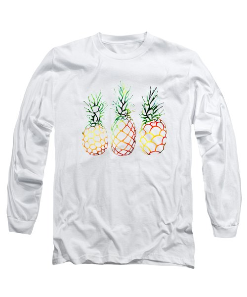Retro Pineapples Long Sleeve T-Shirt by Sam Nagel