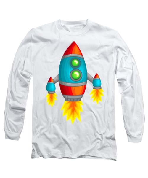 Retro Rocket Long Sleeve T-Shirt by Brian Kemper