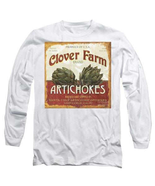 Retro Veggie Labels 1 Long Sleeve T-Shirt by Debbie DeWitt